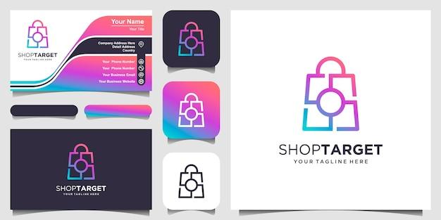 Winkeldoel, tas gecombineerd met doelteken logo ontwerpen sjabloon Premium Vector