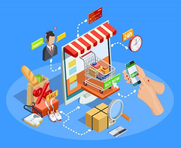 Winkelen e-commerce concept isometrische poster Gratis Vector