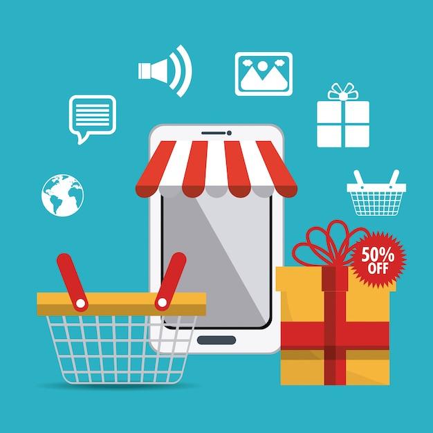 Winkelen, e-commerce en marketing Gratis Vector