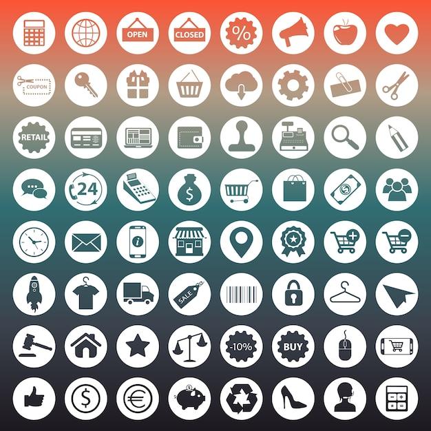 Winkelen en e-commerce pictogrammen Gratis Vector