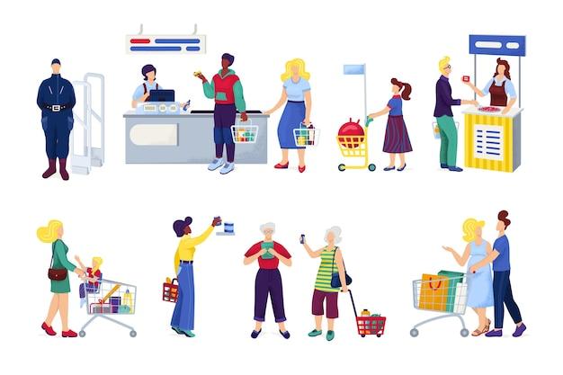 Winkelen in de supermarkt, klanten kopen kruidenierswaren, set van witte illustraties. peopleshoppers op de markt, bij de kassier, in een winkelcentrum, winkel of winkel, gezin met kar of mand. Premium Vector