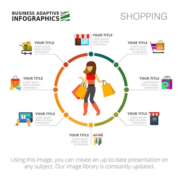 Winkelen infographics dia sjabloon Gratis Vector