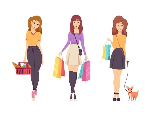 Winkelen jonge vrouwtjes tassen geïsoleerde set Premium Vector