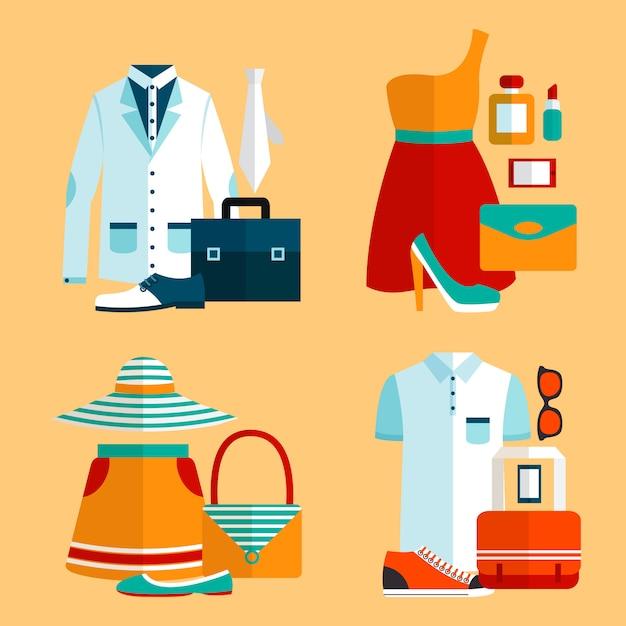 Winkelen kledingset Gratis Vector