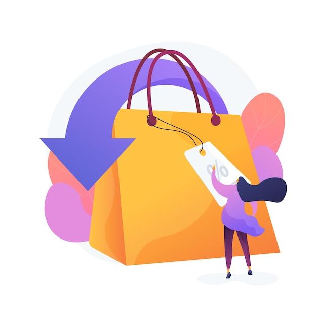 Winkelen kortingen en vergoedingen cartoon web pictogram. verkoopprijsverlaging, detailhandel, creatieve marketing. speciale aanbieding, idee voor klantattractie. vector geïsoleerde concept metafoor illustratie Gratis Vector