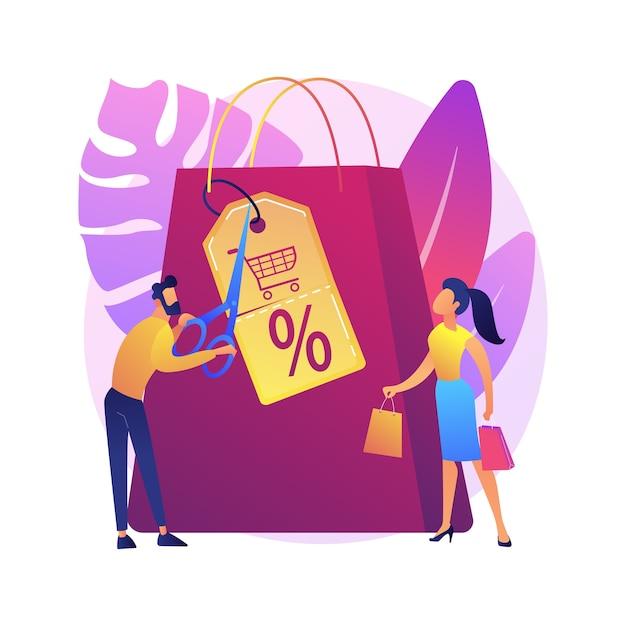 Winkelen kortingen en vergoedingen cartoon web pictogram. verkoopprijsverlaging, detailhandel, creatieve marketing. speciale aanbieding, idee voor klantattractie Gratis Vector