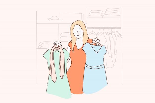 Winkelen, mode, kleding, kleding concept. Premium Vector