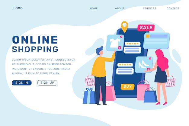 Winkelen online bestemmingspagina in plat ontwerp Gratis Vector