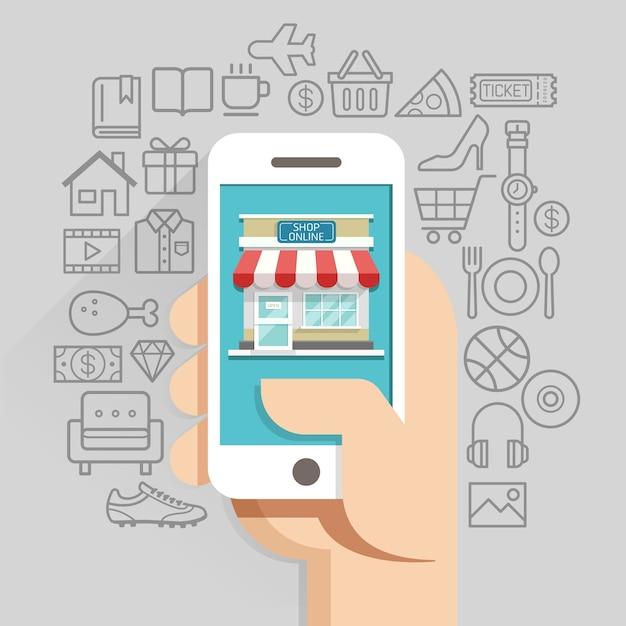 Winkelen online business conceptuele vlakke stijl. vector illustratie. Premium Vector