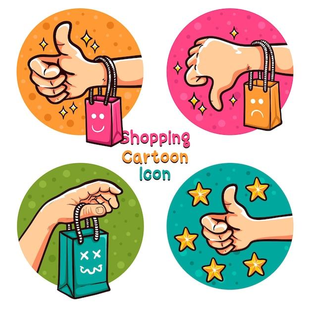 Winkelen online cartoon pictogrammenset illustratie Premium Vector