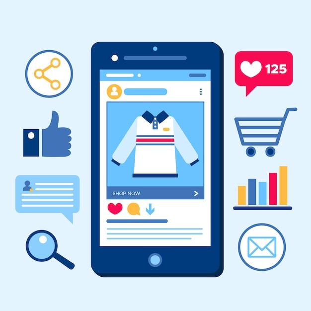Winkelen online marketing mobiele telefoon concept Gratis Vector