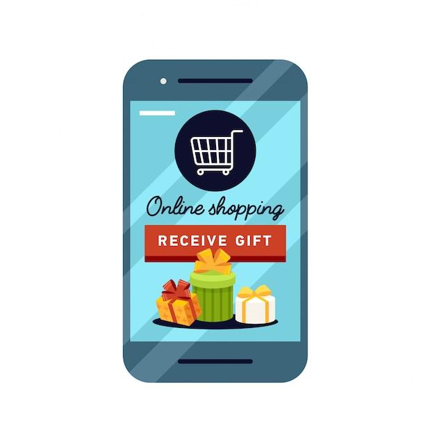 Winkelen online zakelijke conceptuele stijl. Premium Vector