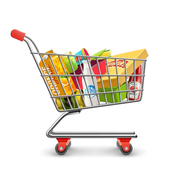 Winkelen supermarkt kar met supermarkt pictogram Gratis Vector