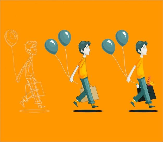 Winkelende man met ballonnen Premium Vector