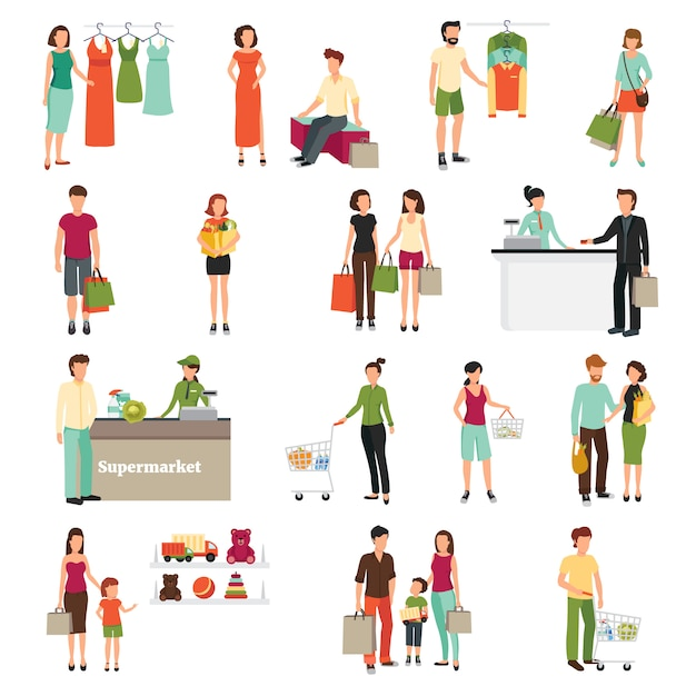 Winkelende mensen die met de vlakke geïsoleerde vectorillustratie van supermarktsymbolen worden geplaatst Gratis Vector