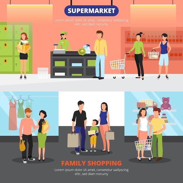 Winkelende mensen horizontale die banners met familie het winkelen vlakke symbolen worden geplaatst Gratis Vector