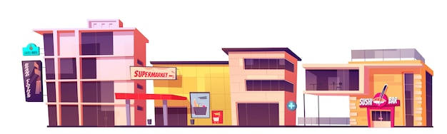 Winkelgebouwen, merkkledingwinkel, supermarkt, koffiehuis en sushibargevel. moderne stadsarchitectuur buitenkant, marktplaats vooraanzicht geïsoleerd op witte achtergrond cartoon afbeelding Gratis Vector