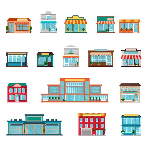 Winkels en supermarkten grote en kleine gebouwen pictogrammen instellen Gratis Vector