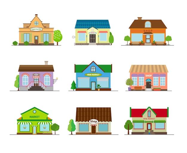 Winkels en winkelgebouwen. zakelijke straatwinkel, architectuurmarkt en showcase. Gratis Vector