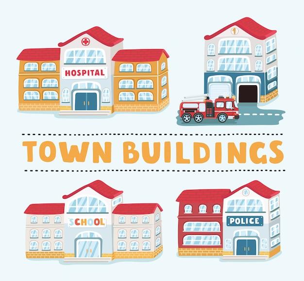 Winkels en winkels gebouwen pictogrammen instellen op witte achtergrond, afbeelding Premium Vector