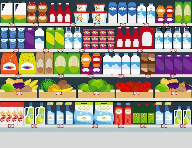 Winkelschappen met producten Premium Vector