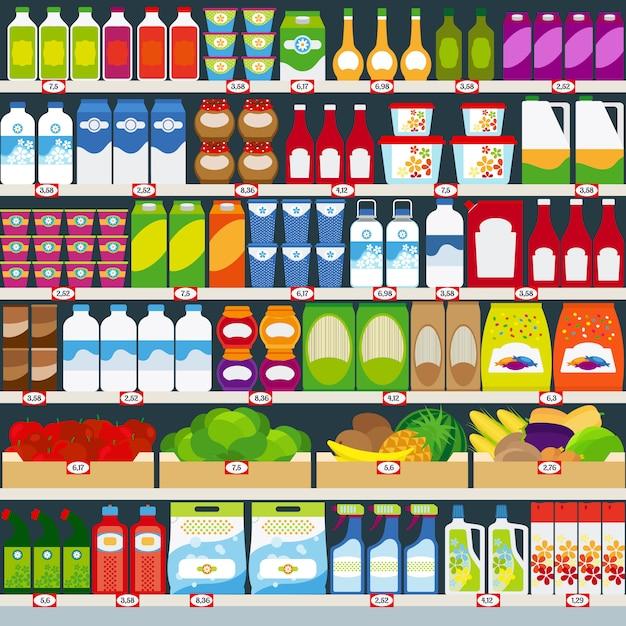 Winkelschappen met zuivelproducten, fruit en huishoudelijke chemicaliën. vector illustratie Premium Vector