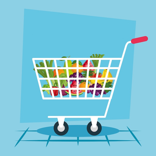 Winkelwagen illustratie, winkel winkel markt handel detailhandel kopen en betalen Premium Vector