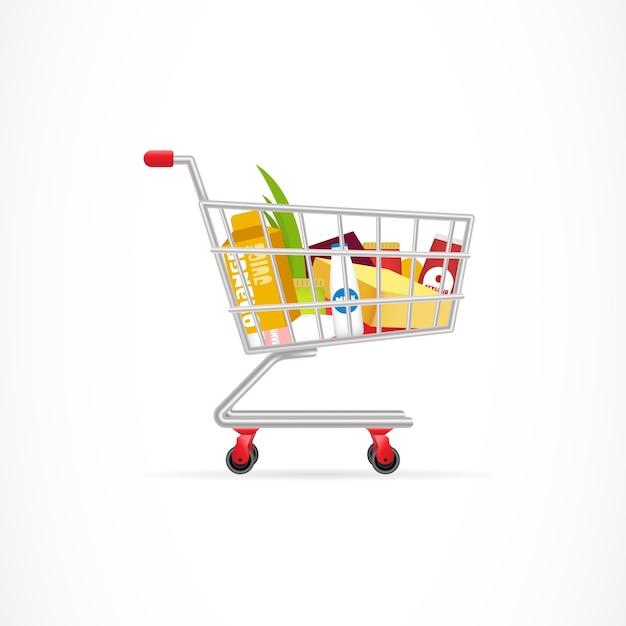 Winkelwagen met producten Premium Vector