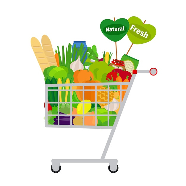 Winkelwagen met voedsel Premium Vector