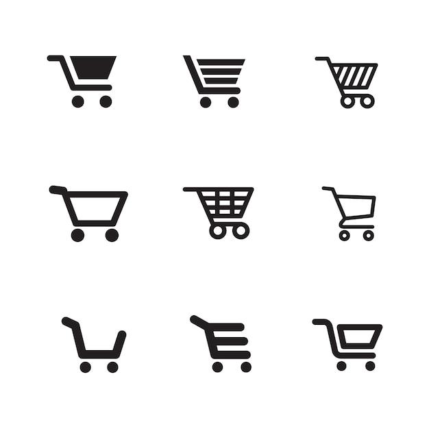 Winkelwagen pictogrammen Premium Vector