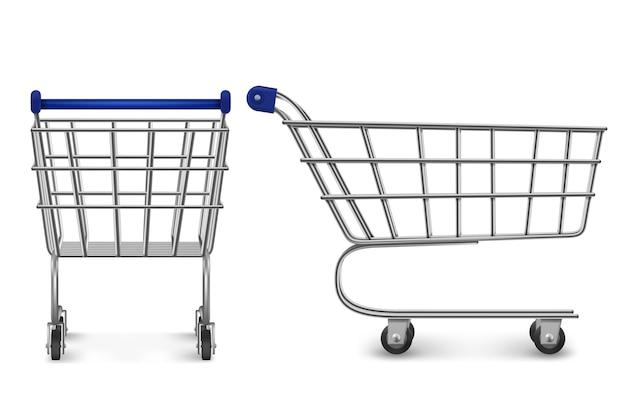 Winkelwagentje achter en zijaanzicht, lege supermarktkar geïsoleerd op een witte achtergrond. klantenapparatuur voor aankoop in de winkel, kruidenierswinkel en winkelmarkt. realistische 3d-afbeelding Gratis Vector