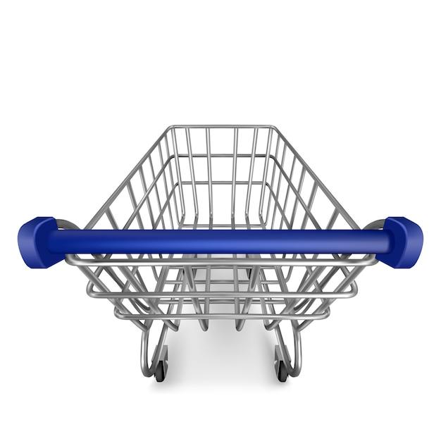 Winkelwagentje, lege supermarktkar uitzicht vanaf de eerste persoon geïsoleerd op wit Gratis Vector
