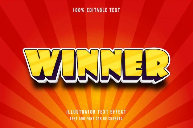 Winnaar, 3d bewerkbaar teksteffect geel paars moderne schaduw komische stijl Premium Vector