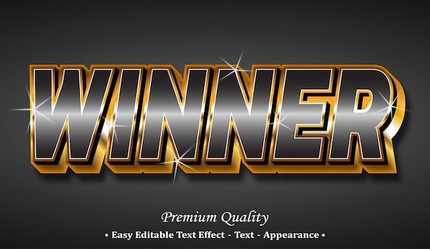 Winnaar 3d-lettertype-effect Premium Vector
