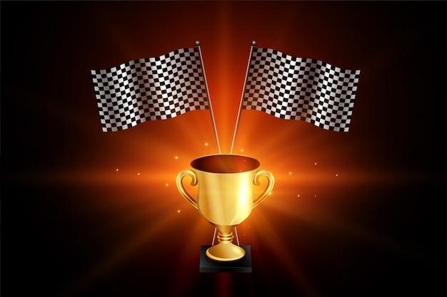 Winnaar gouden trofee met race vlaggen Gratis Vector