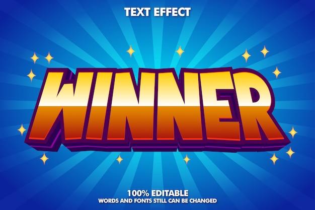 Winnaar sticker, bewerkbaar cartoon teksteffect Gratis Vector