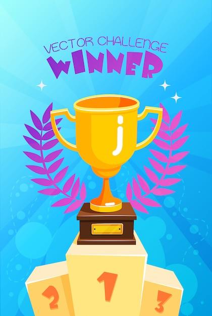 Winnaar trofee op podium kleurrijke poster Gratis Vector
