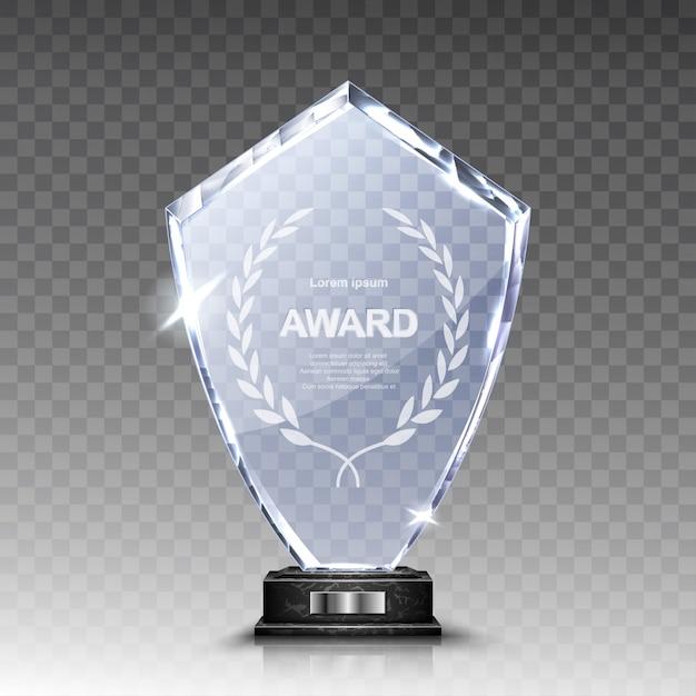 Winnaar van de glazen trofee of acrylwinnaar realistisch Gratis Vector