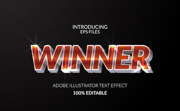 Winnaarkampioen met glanzend teksteffect in metaalchroom. bewerkbare tekst en lettertype. glanzend glanzend effect Premium Vector