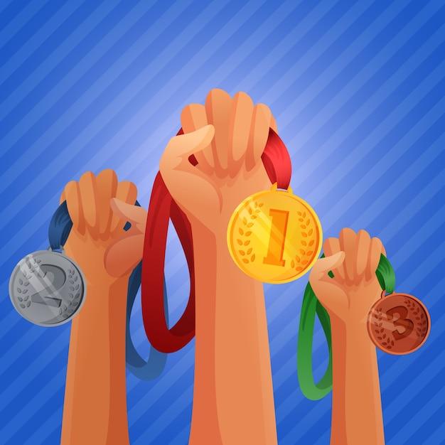 Winnaars handen met medailles Gratis Vector