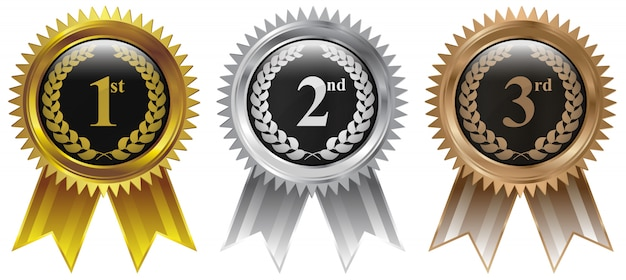 Winnaars medaille goud zilver brons Premium Vector