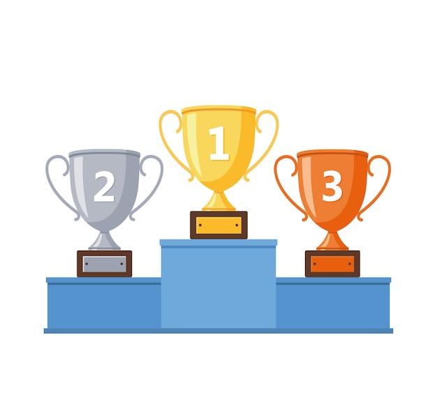 Winnaars podium met gouden, zilveren en bronzen bekers. Premium Vector