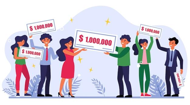 Winnaars van de loterij houden cheque van een miljoen dollar Gratis Vector