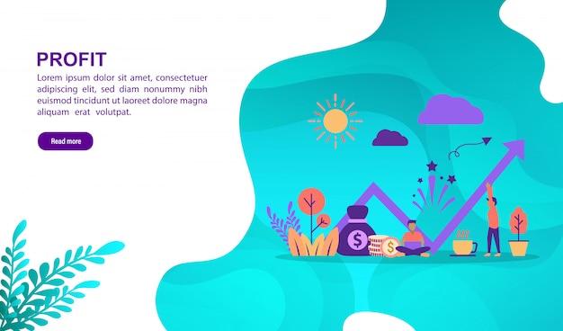 Winst illustratie concept met karakter. bestemmingspaginasjabloon Premium Vector
