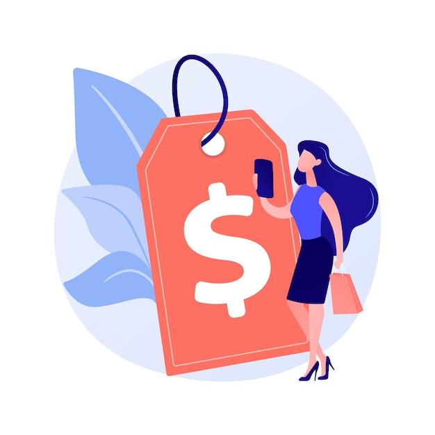 Winstgevende prijsstrategie. prijsvorming, promo-actie, ontwerpelement voor uitverkoopideeën. advertentie voor goedkope producten, aantrekkingskracht van klanten. Gratis Vector