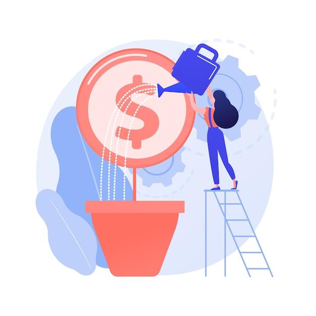 Winstgroei, fondsenwerving. zakenvrouw geldboom water geven. inkomensstijging, groeiend inkomen, creatief ontwerpelement voor economische geletterdheid. Gratis Vector