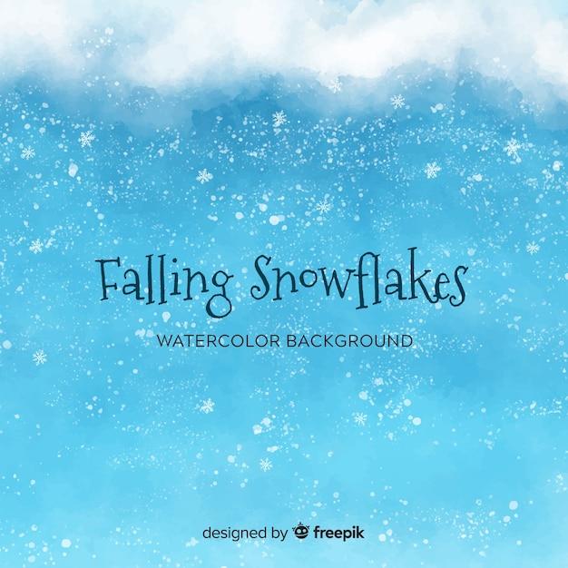 Winter achtergrond met aquarel sneeuwvlokken Gratis Vector
