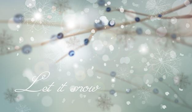 Winter achtergrond met boomtak decoraties Premium Vector