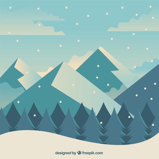 Winter achtergrond met bos en bergen op plat ontwerp Gratis Vector