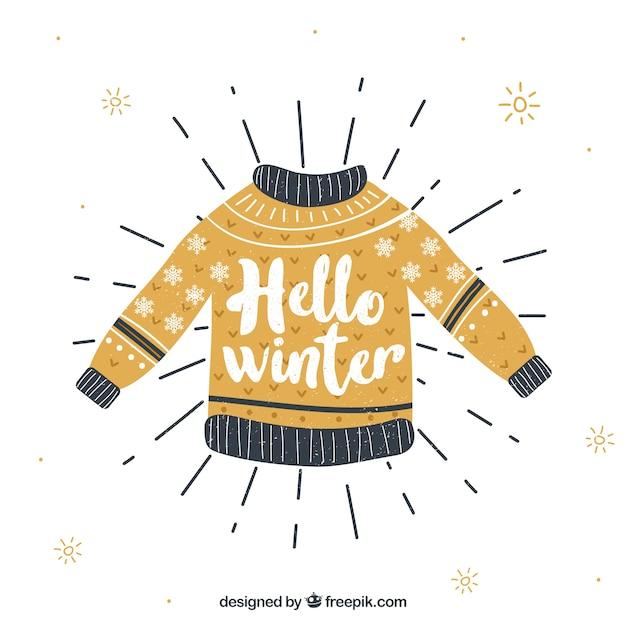 Winter achtergrond met een gele gebreide trui Gratis Vector